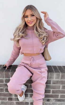 KELSEY Dusty Pink High Neck Fitted Loungewear Set by Glamify