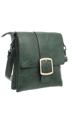 CLASSIC FLAP OVER BUCKLE CROSS BODY BAG GREEN by BESSIE LONDON