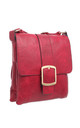 CLASSIC FLAP OVER BUCKLE CROSS BODY BAG RED by BESSIE LONDON