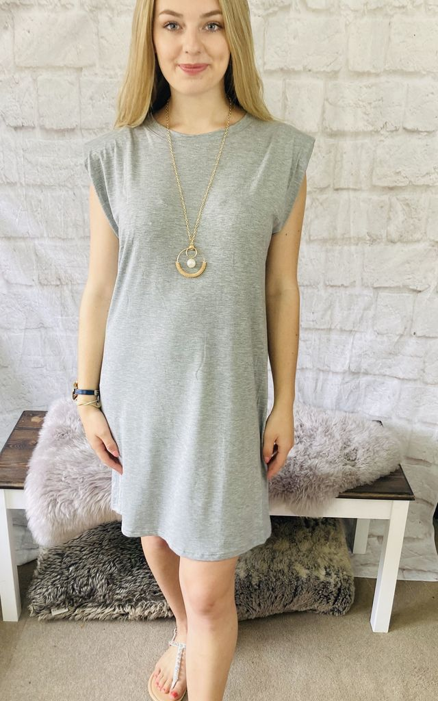 Padded Shoulder Top with Pendant Necklace in Grey by Pink Lemonade Boutique