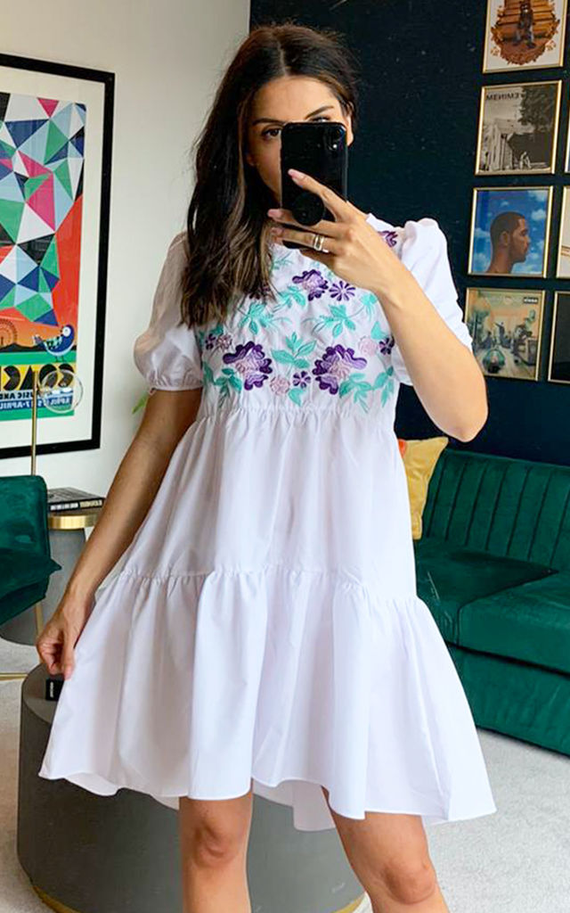 Voluminous Embroidery Tiered Dip Hem Smock Dress with in White by One Nation Clothing