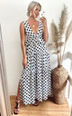 Deep V Sleeveless Maxi Dress with Ruffles in White and Black Polka Dot by CY Boutique