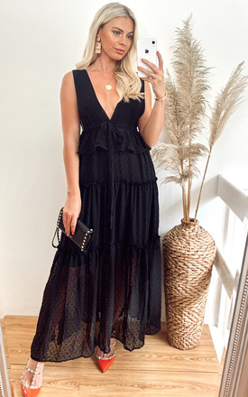 Deep V Sleeveless Maxi Dress with Ruffles in Black Spot by CY Boutique