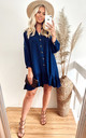 Long Sleeve Oversized Linen Shirt Dress in Blue by CY Boutique