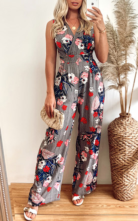 Black Floral Stripe Jumpsuit by Yumi