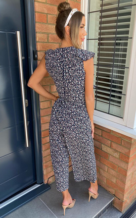 Navy Floral Frill Front Jumpsuit by AX Paris