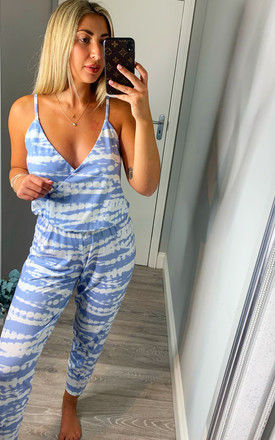 HOLLY  LOUNGEWEAR TIE-DYE STRAPPY JUMPSUIT by EDDI CLOTHING