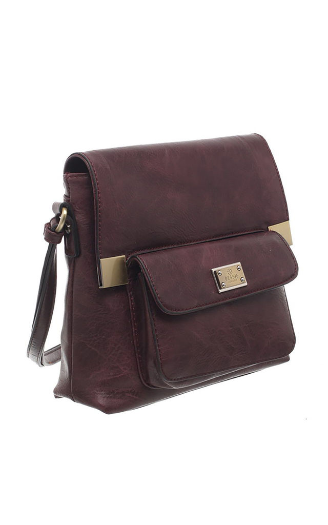 CLASSIC FLAP TOP FRONT POCKET CROSS BODY BAG PURPLE by BESSIE LONDON