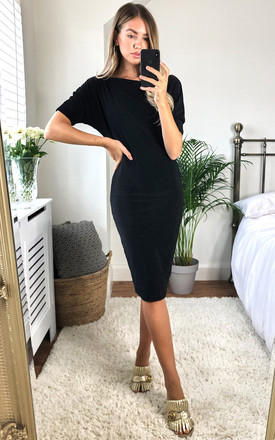 Black Lily One Shoulder 1/2 Sleeve Midi Dress by Pleat Boutique Product photo