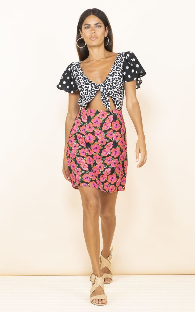Mambo Mini Dress In Hibiscus Mix Print by Dancing Leopard