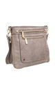 DOUBLE FRONT ZIP POCKET CROSSBODY BAG L.GREY by BESSIE LONDON