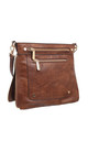 DOUBLE FRONT ZIP POCKET CROSSBODY BAG TAN by BESSIE LONDON