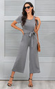 Tie Front Jumpsuit In Grey by FS Collection
