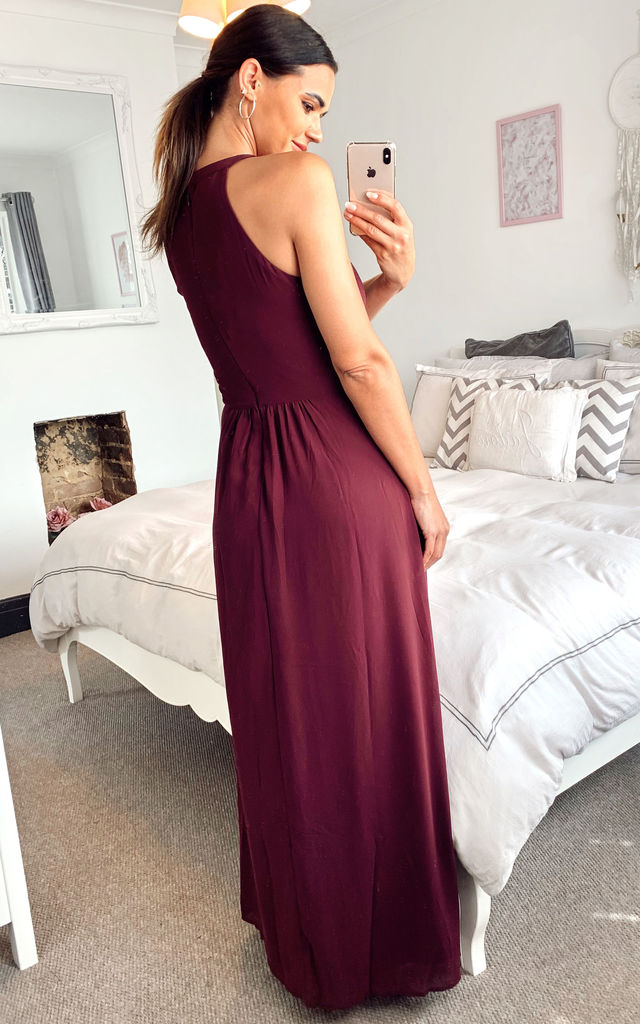 Halterneck Maxi Dress With Lace Waist In Burgundy by VILA