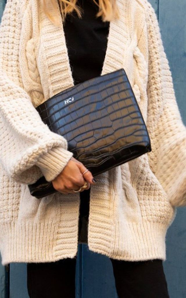 Black Croc 'Manhattan' Clutch by Azurina