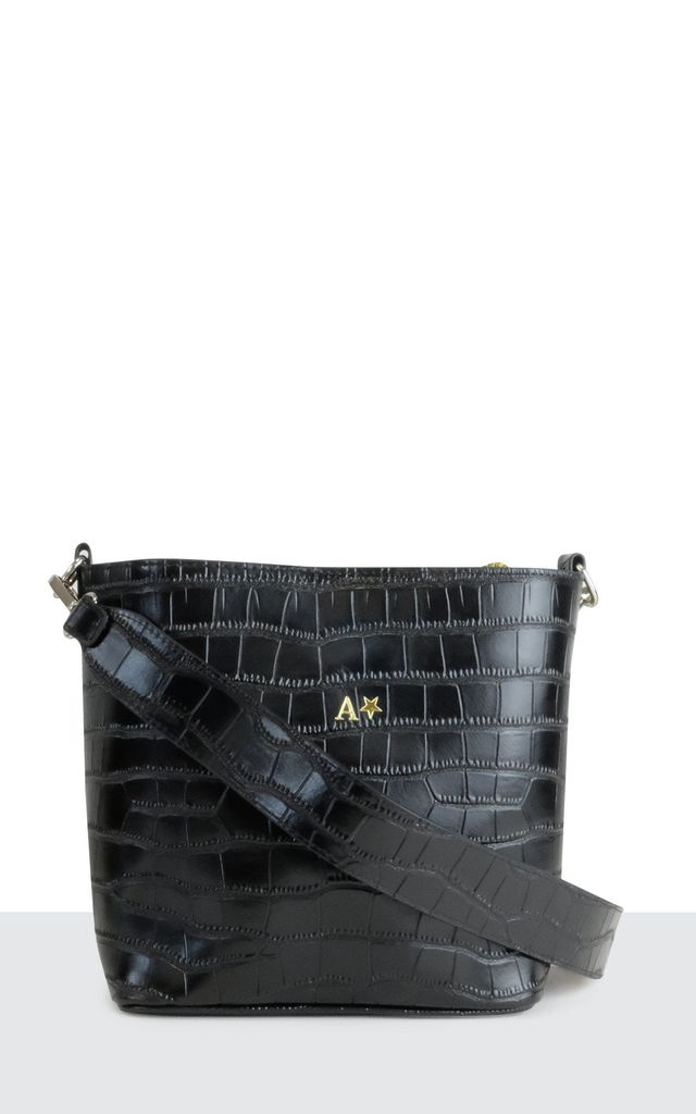 Real Leather Black Croc 'Milan' Bag by Azurina