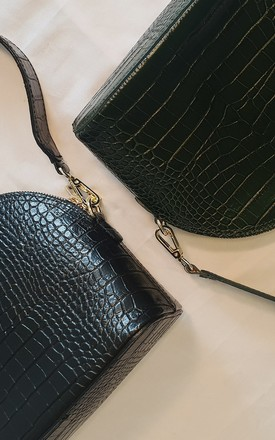 Black Croc 'Naples' Bag by Azurina