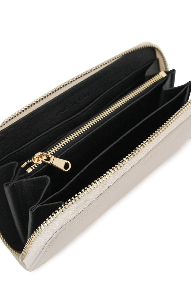 Cream Leather 'Boston' Large Zip Purse by Azurina