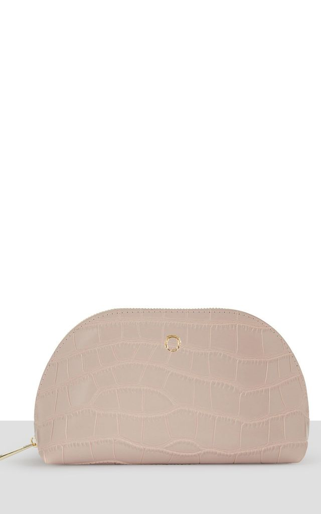 Nude Croc Leather Moon Makeup Bag by Azurina
