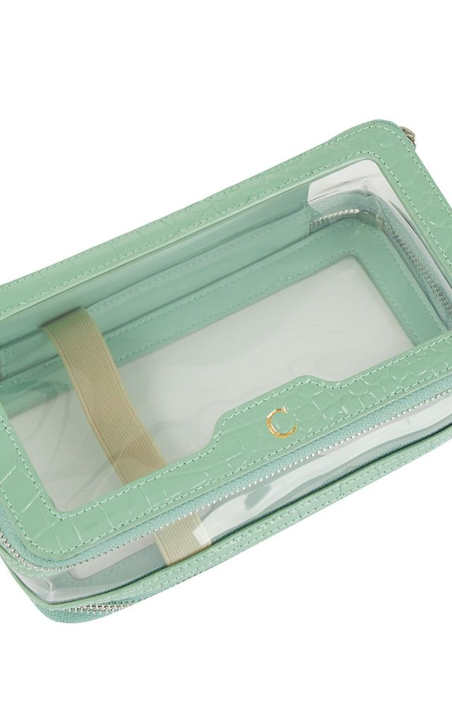 Leather and Perspex Double Clear Wash Bag 'Helsinki' in Pistachio Croc by Azurina