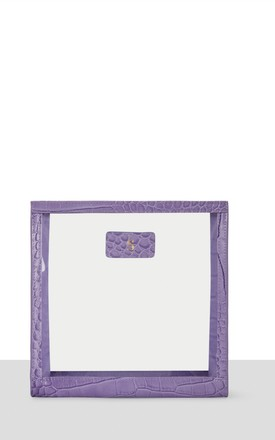 Leather Perspex Makeup Bag 'Oslo' in Violet Croc by Azurina