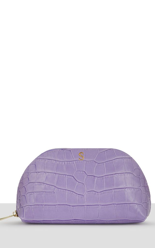 Violet Croc Leather Moon Makeup Bag by Azurina