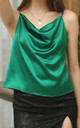 Cowl Neck Cami Top In Green by FS Collection