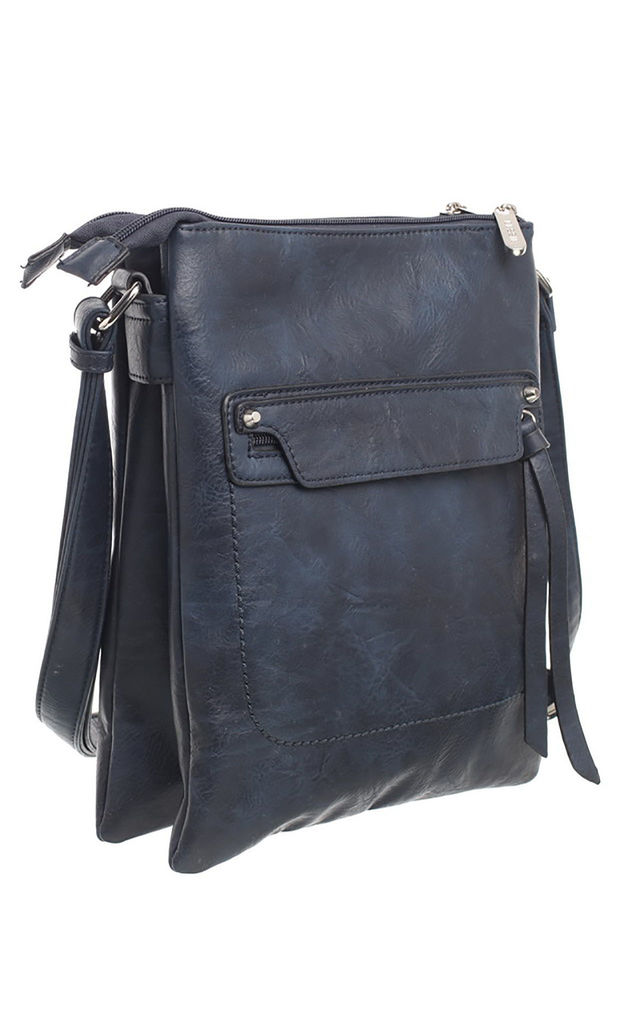 CLASSIC ZIPPER CROSSBODY BAG NAVY by BESSIE LONDON