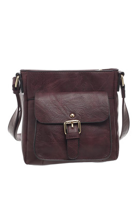 CLASSIC BUCKLE FRONT POCKET CORSS BODY BAG PURPLE by BESSIE LONDON