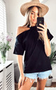 One shoulder Oversize Black Top/T-shirt for Summer by Jenerique