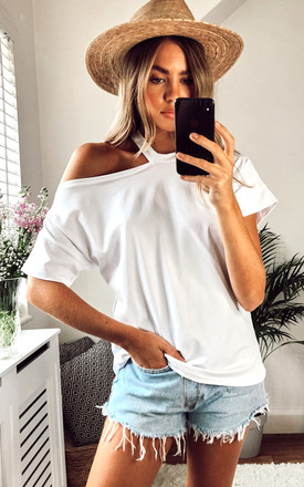 One shoulder Oversize White Top/T-shirt for Summer by Jenerique