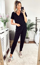 JESS LOUNGEWEAR SET BLACK- WITH CAP SLEEVE TOP by EDDI CLOTHING
