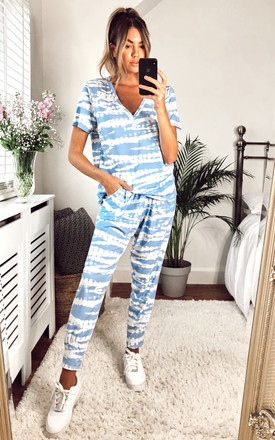 JESS LOUNGEWEAR SET-TIE-DYE WITH CAP SLEEVE TOP by EDDI CLOTHING