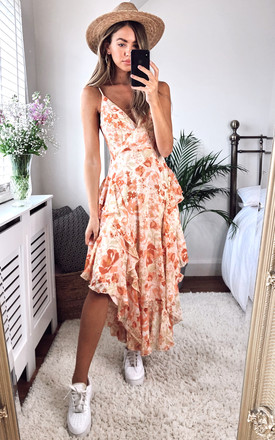 Rochelle Midi Flutter Dress In Peach Floral by Bardot Product photo