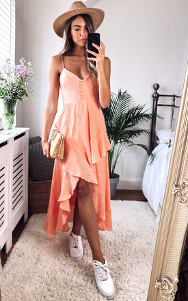 Sara Strappy Frill Dress In Peach Stripe by Bardot Product photo