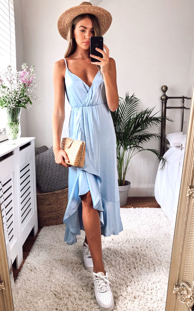 AALIYAH STRAPPY MIDI DRESS IN BLUE by Bardot