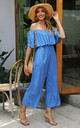 Off The Shoulder Frill Jumpsuit In Blue Polka Dot by FS Collection