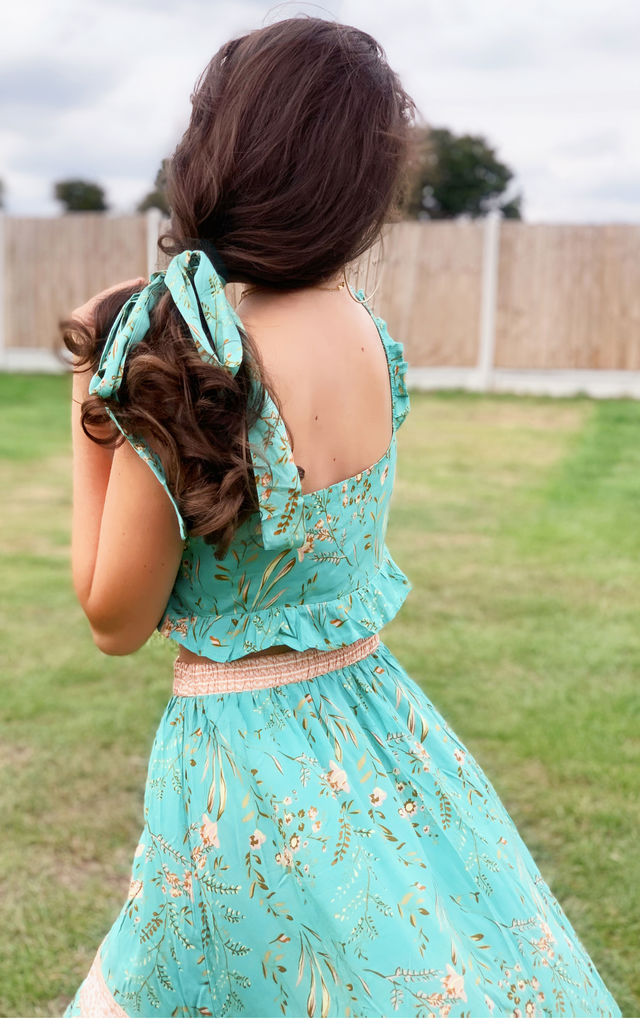 Two Piece Co Ord Skirt And Summer Bralet Top In Mint Green Print by FS Collection