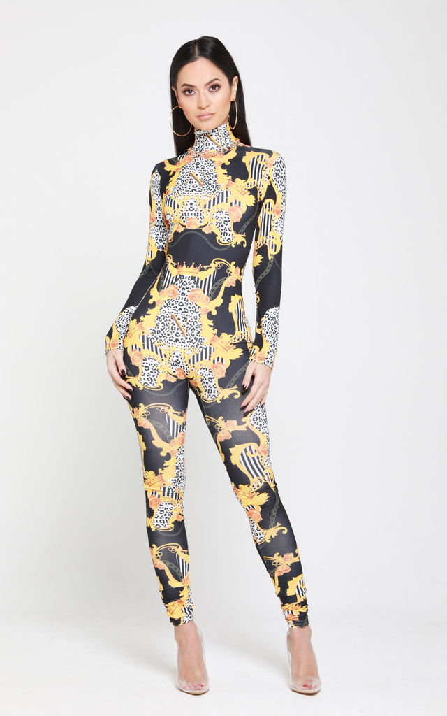 Empower Neish Print Design Fitted Jumpsuit - Black by Neish Clothing