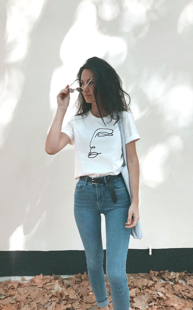 Embroidered Line Abstract Face White T-Shirt by Mahi Chic