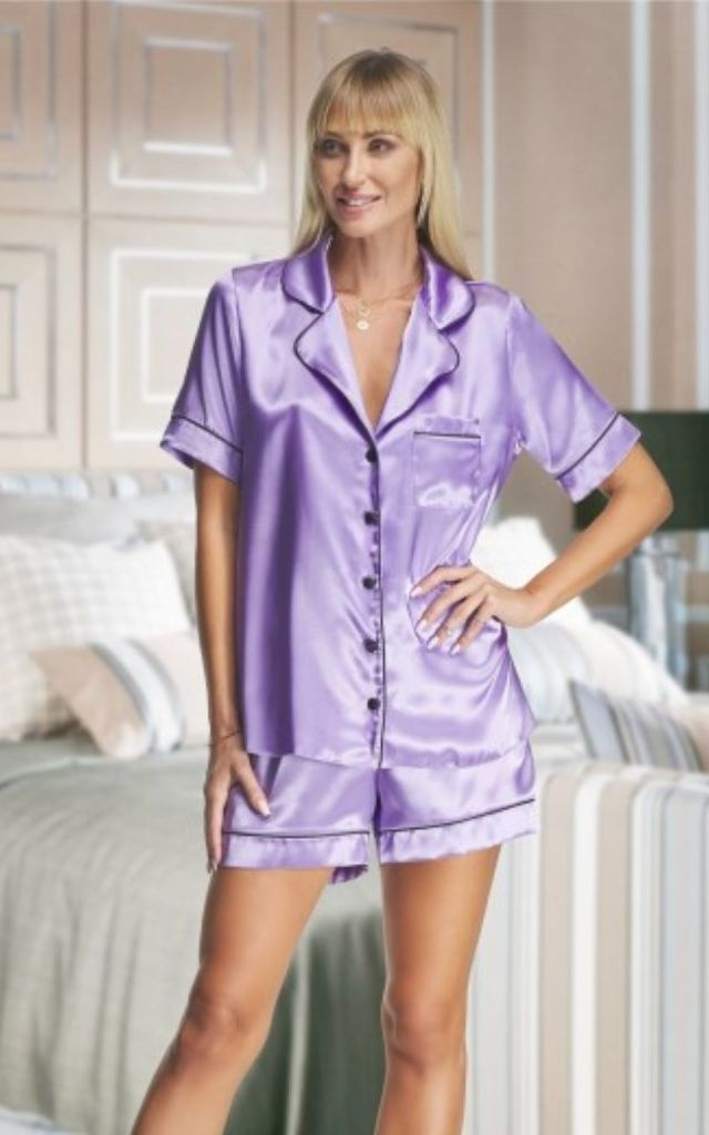 Satin Pyjama Set in Lilac by BB Lingerie