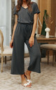 Charcoal Grey Loose Jumpsuit With Short Sleeve by FS Collection