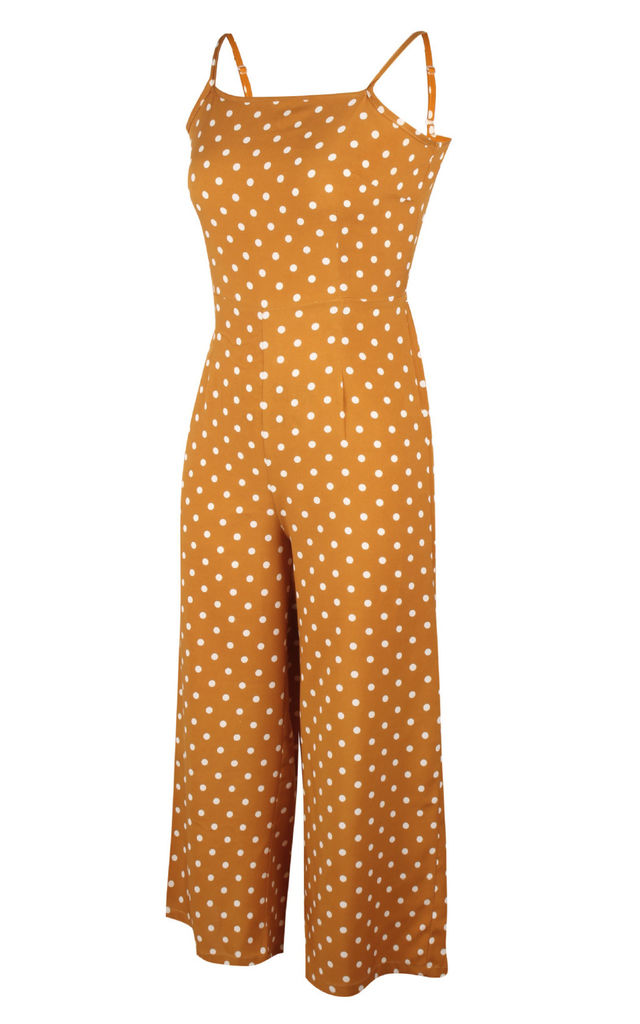 Tie Back Culotte Jumpsuit In Yellow Polka Dot by FS Collection