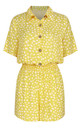 Shirt Style Jumpsuit In Yellow & White Spot Print by FS Collection