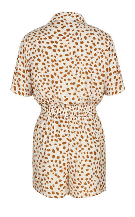 Button Front Playsuit In White & Orange Spot Print by FS Collection