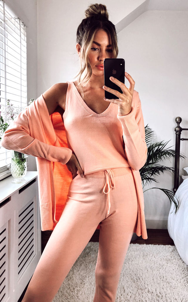 Knitted 3 Piece Loungewear Peach by URBAN TOUCH
