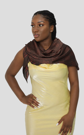 Large Printed Brown Silky Scarf by KAREN GOLD