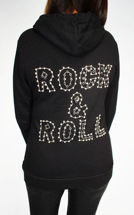 Black Embellished Rock & Roll Hoodie by Tilly Tizarro