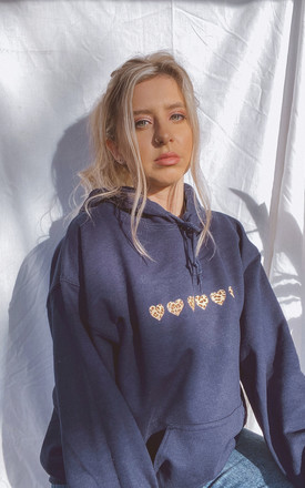 Oversized Hoodie in Navy with Leopard Print Hearts by LimeBlonde