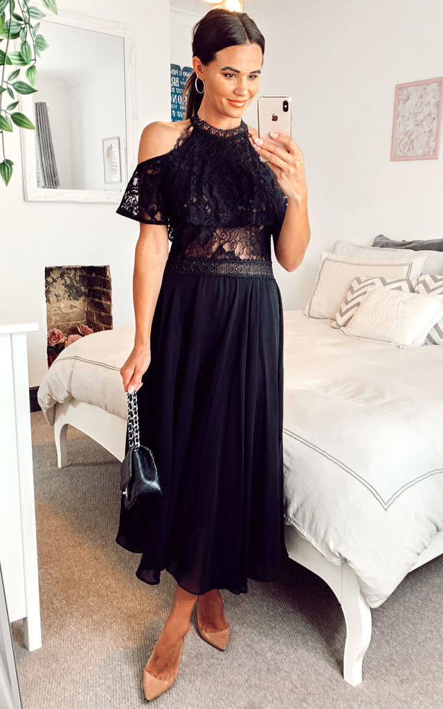 Lace detailed top with Cold Shoulder halter neck chiffon swing midi dress black by Shikha London